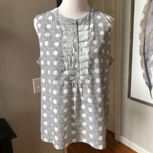 J Crew white black polka dot sleeveless shirt 14